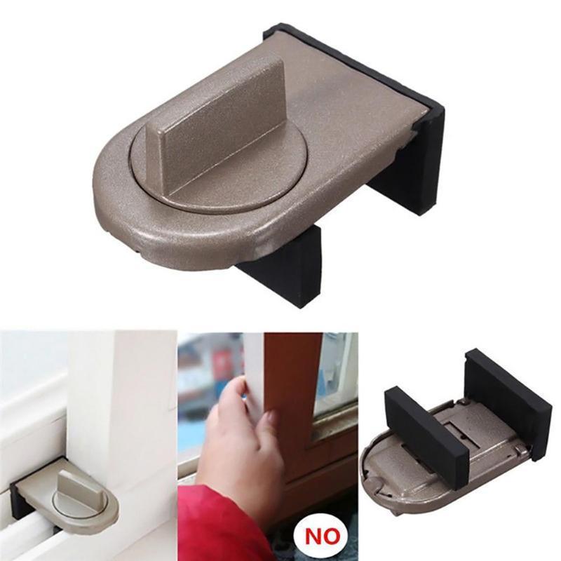 Kids Safety Sliding Sash Stopper Cabinet Locks Straps Anti-Theft Child Security Doors Windows Locks Random Color