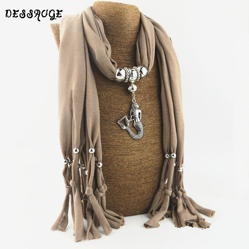 DESSAUGE Trendy Mermaid Pendant Necklace Women Multilayer Scarf Bead Necklace Chunky Long Chain Necklace Boho Autumn Jewelry стоимость