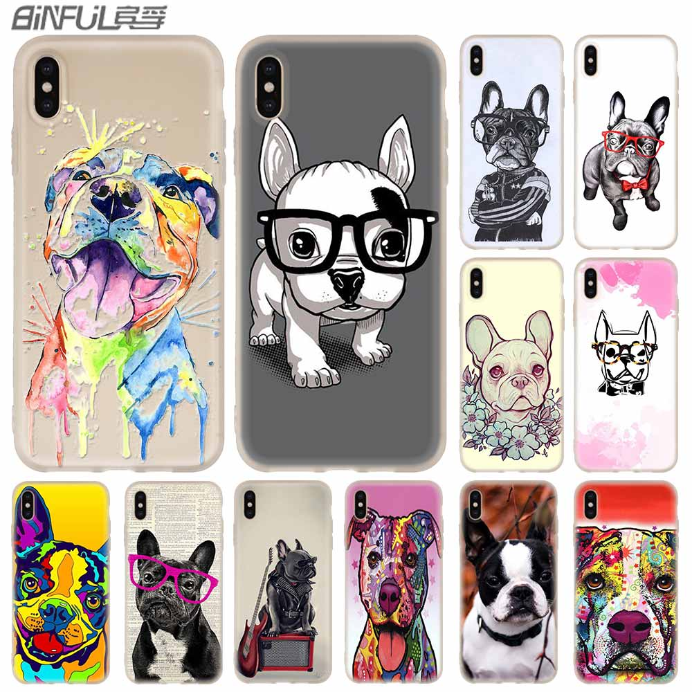 <font><b>Baseus</b></font> Clear Phone Cases Silicone soft Cover for <font><b>iPhone</b></font> 11 Pro X XS Max XR 6 <font><b>6S</b></font> 7 8 Plus 5 4S SE dog american bulldog Funda Etui image