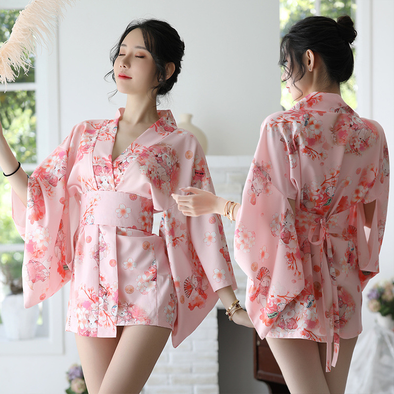 Sakura Girl Kimono Dress Japanese Style Yukata Bathrobe Women Floral  Print Haori Japan Uniform Cosplay Costume Party Short Gown