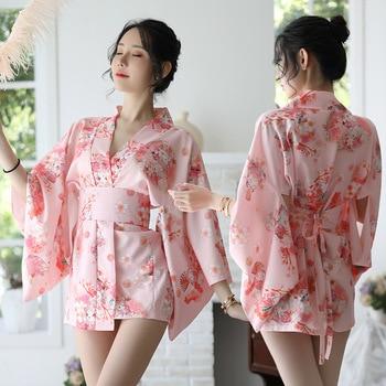 Sakura chica Kimono vestido de estilo japonés Albornoz de Yukata las mujeres impresión Floral Haori Japón Cosplay traje uniforme fiesta Vestido corto de