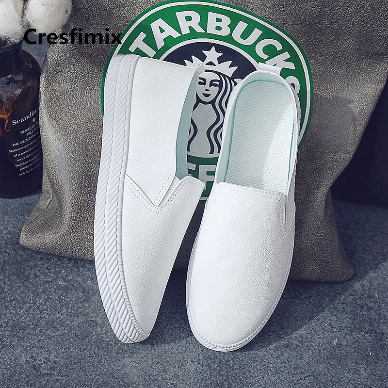 Cresfimix Zapatos De Mujer Women Fashion White Breathable Slip On Flat Shoes Lady Pu Leather Summer Comfortable Loafers A2015