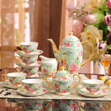 15 pcs bone china bird flower coffee cup saucer sets european afternoon Tea Set coffee pot and jug set household wedding gift