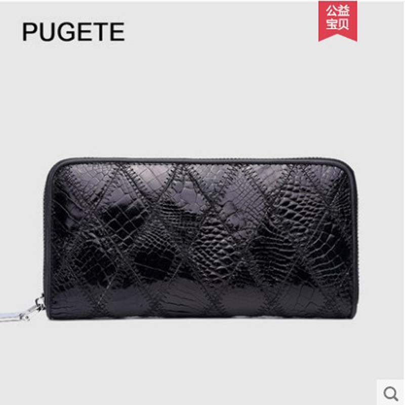 pugete Crocodile leather handbag, wallet, real leather bag, genuine zipper clutch, high-grade men's clutch with large capacity