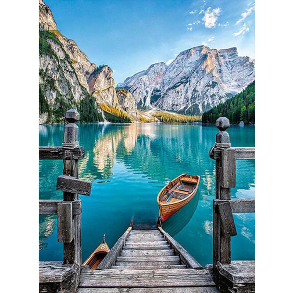 Полная квадратная дрель 5D DIY Алмазная Вышивка Лодка на озере Алмазная картина вышивка крестиком Мозаика из страз подарок YU923