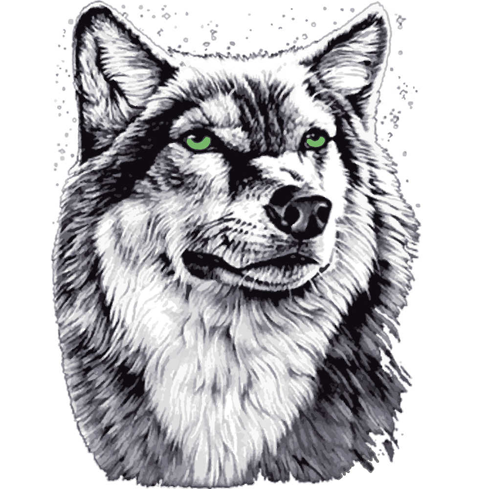 2 size grey wolf Patches Heat Transfer Iron On Patch A-level Washable Clothes Stickers Easy Print Irons