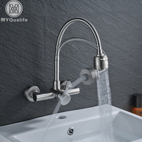 Single Handle Flexible Hose Kitchen Faucet Wall Mounted 360 Degree Rotate Bathroom Kitchen Mixers Hot And