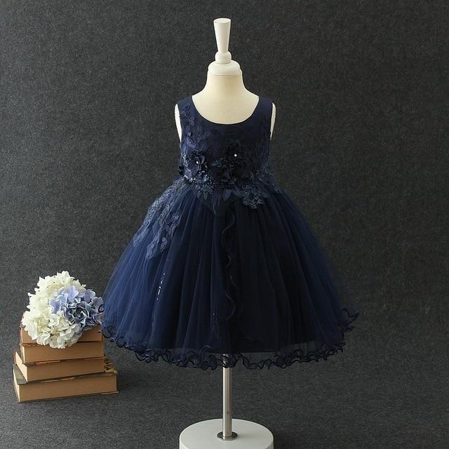 Us 2522 51 Offaliexpresscom Buy Navy Blue Elegant Girl Dress Brithday Angel Appliques Flower Girl Vestido 2019 Girls Clothes Of 3 4 6 8 10 12