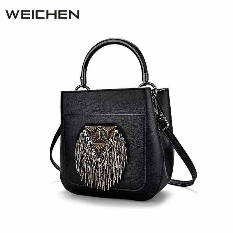 Punk Tassel Bags Handbags Women Famous Brands Black Rock Shoulder Bag Female Women Messenger Bags Crossbody Leather Handbag