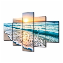 Artryst Wall Art Pictures HD Prints Canvas 5 Pieces Waves On Beach At Sunset Paintings Seascape Posters Living Room Home Decor