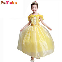 Girl Dress Princess Belle Party Dress Character Sleeveless Shoulderless Halloween Cosplay Costume Kids Performance Clothing
