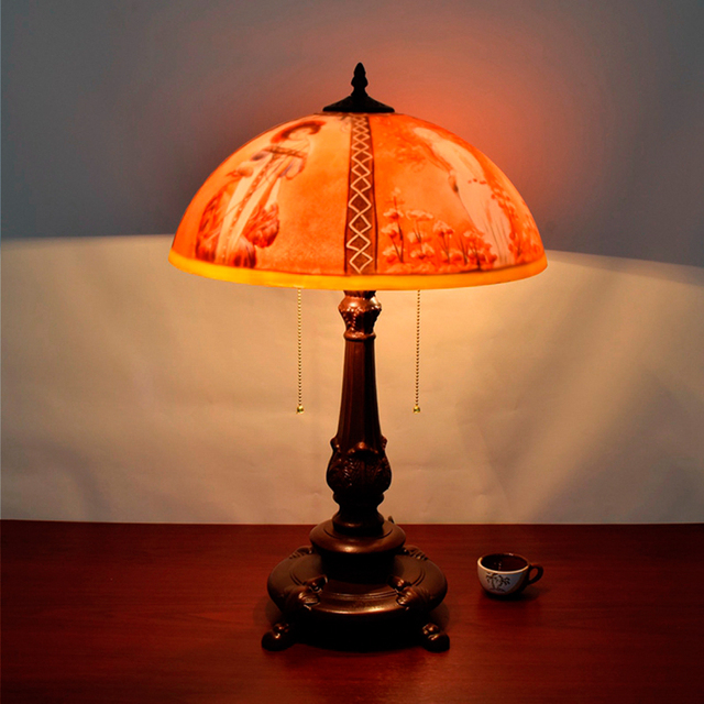 Creative Retro Art Glass Oil Painting Table Lamps Beautifully Decorated Living  Room Decorated Sofa Bedroom Table