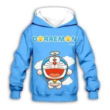 цена на kawaii Doraemon 3D printed Kids hoodies sweatshirt baby boy girl Children Cartoon Nobita Nobi hoodie streetwear set pullover