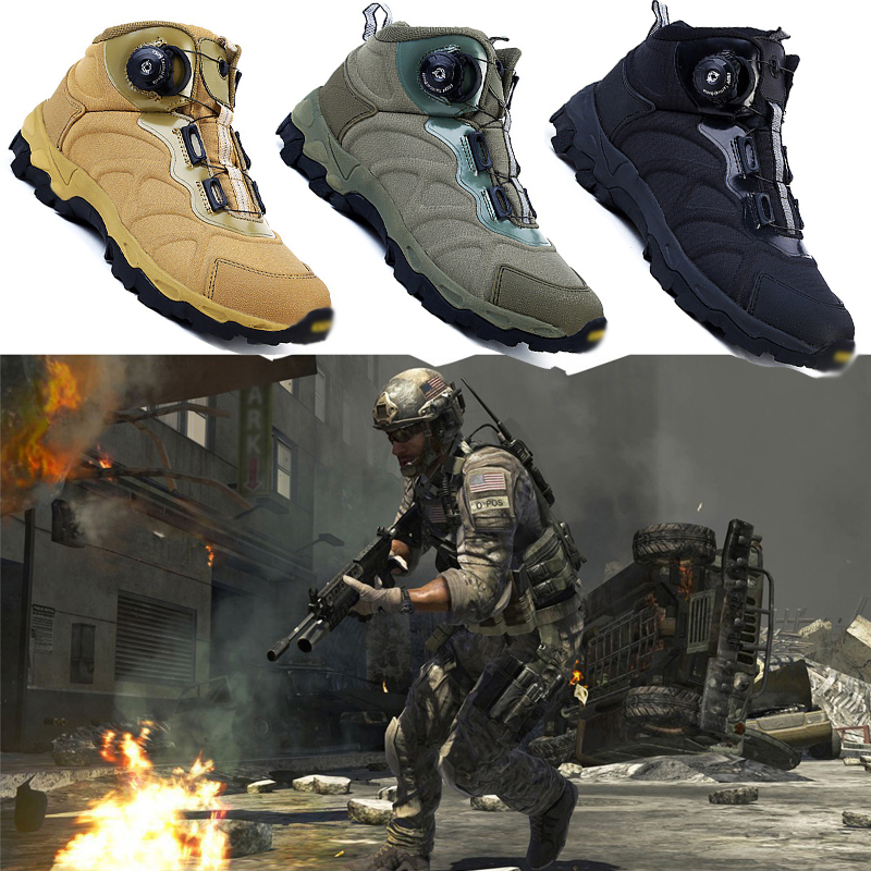 Tactical Military Combat Boots Outdoor Male Quick Reaction Boots Lacing System Snow Hiking Combat tatico Shoes