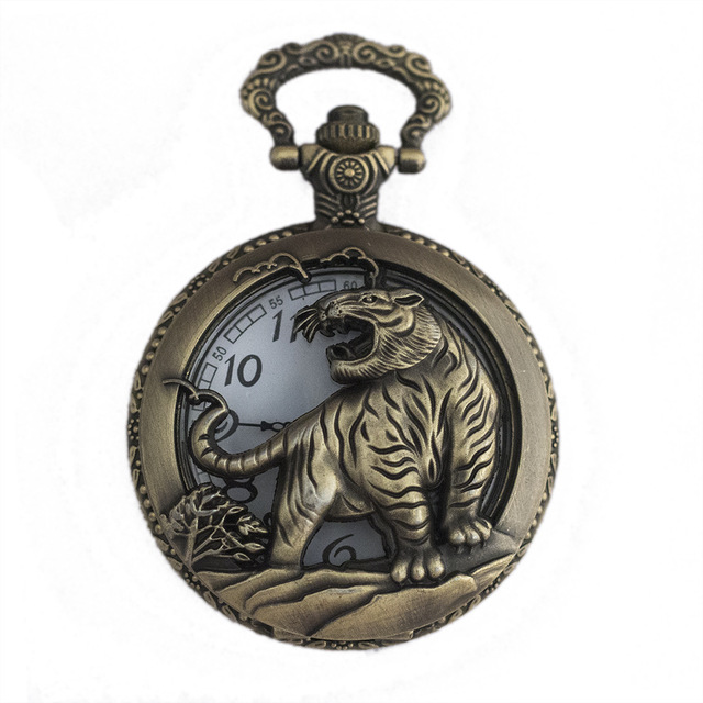 AAA Retro Design Pocket Watch Hollow Tiger Fob Watch Vintage Bronze Pocket Watch