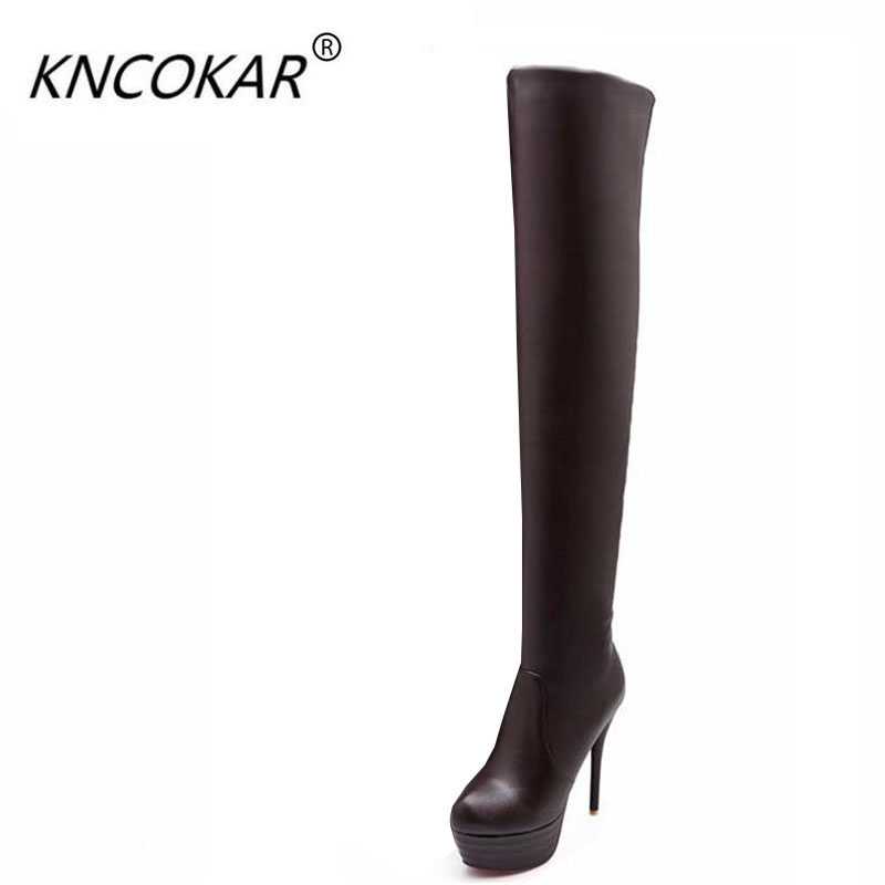 The new style of over-the-knee boots with a thin leg sexy waterproof platform with high heels and a round head Martin bootsThe new style of over-the-knee boots with a thin leg sexy waterproof platform with high heels and a round head Martin boots