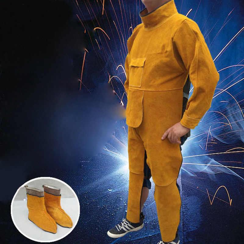Прочный кожаный сварки длинное пальто Фартук защитный Костюмы комплект одежды одежда Костюм сварщика на рабочем месте Детская безопасность