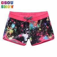 Gsou Snow Plus Size Bikini Bottoms 2017 Women Swimwear Graffiti Printed Swim Beach Shorts Female Diving Surf Fitness Sportswear