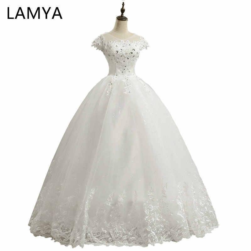 LAMYA Cheap Customized Short Lace Sleeve Vintage Wedding Dress Princess  Plus Size Bride Gowns Dresses Fashion 6db1ec998c70
