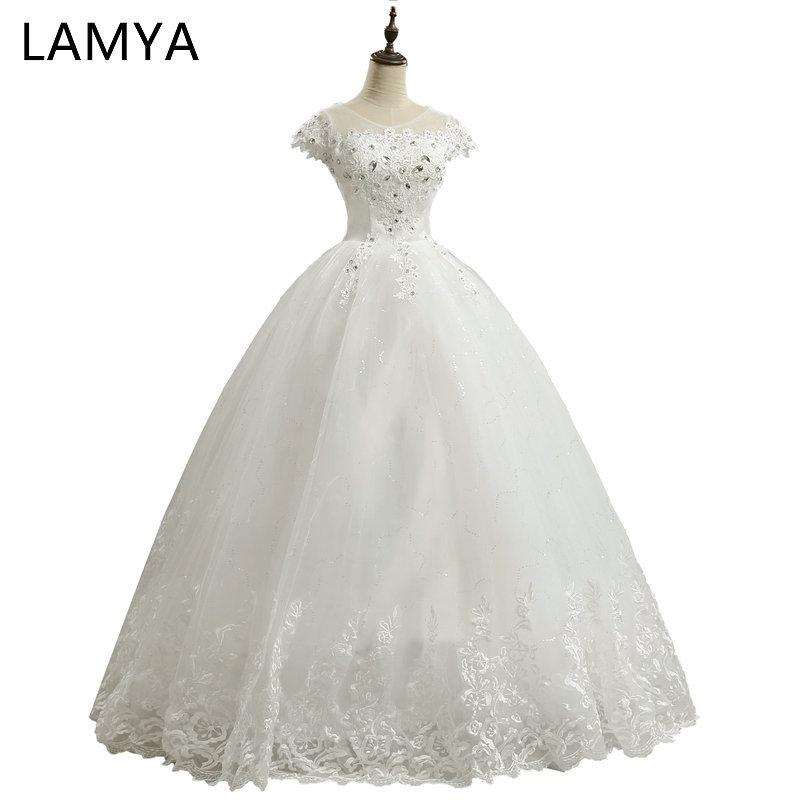 LAMYA Billig Maßgeschneiderte Kurze Spitze Hülse Vintage Hochzeitskleid Prinzessin Plus Size Braut Kleider Kleider Mode vestido de noiva