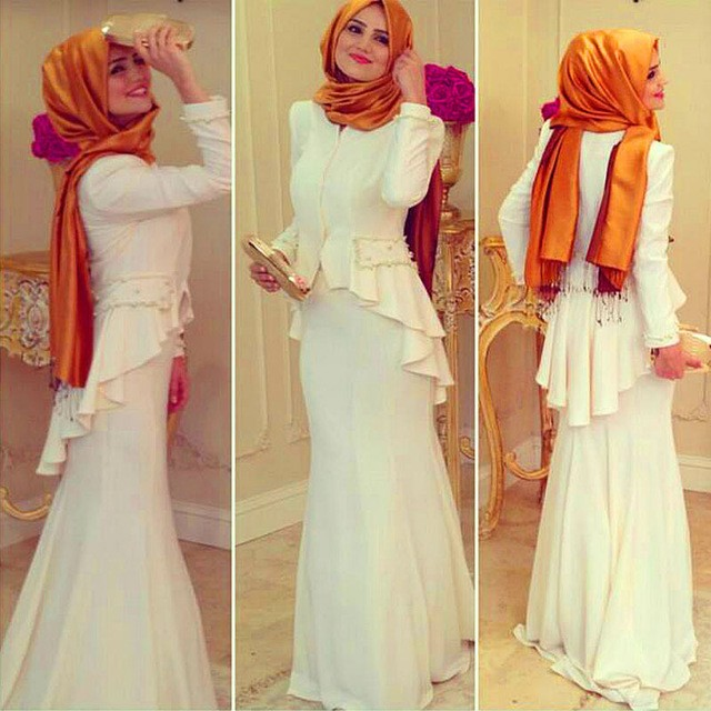 2017 Arabic Saudi Arabia Turkish Ic Formal Gowns Prayer Kaftans Dresses Hijab White Long Sleeve Muslim