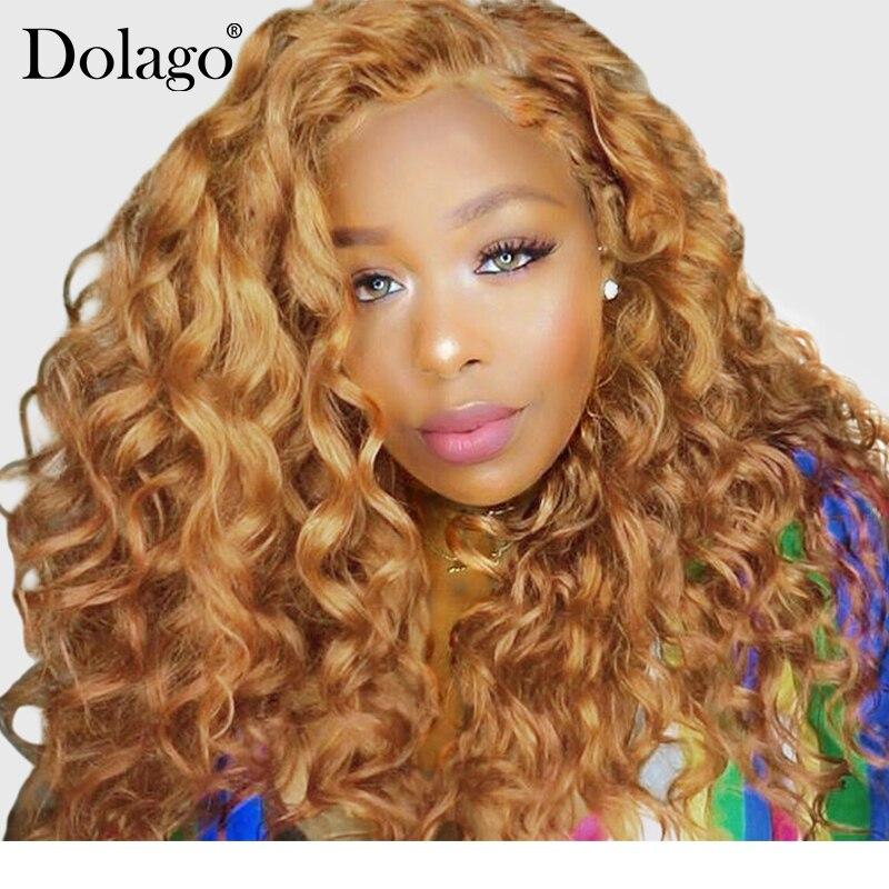 Blonde Avant de Lacet Perruques de Cheveux Humains Pour Les Femmes Coloré 250% Densité Vague Lâche Perruque 27 # Cheveux Brésiliens Remy Miel noir Dolago 13x4