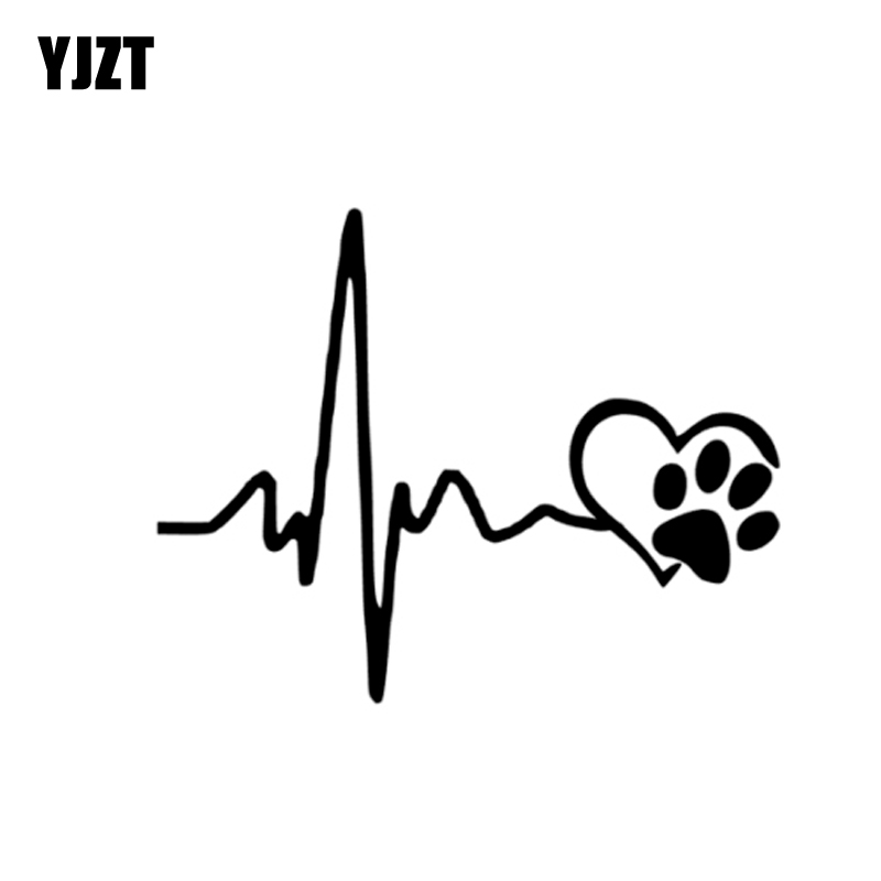 YJZT 13CM*10.3CM Heartbeat Love Dog Footprints Creative Vinyl Car Sticker Decals Black/Silver C10-00204