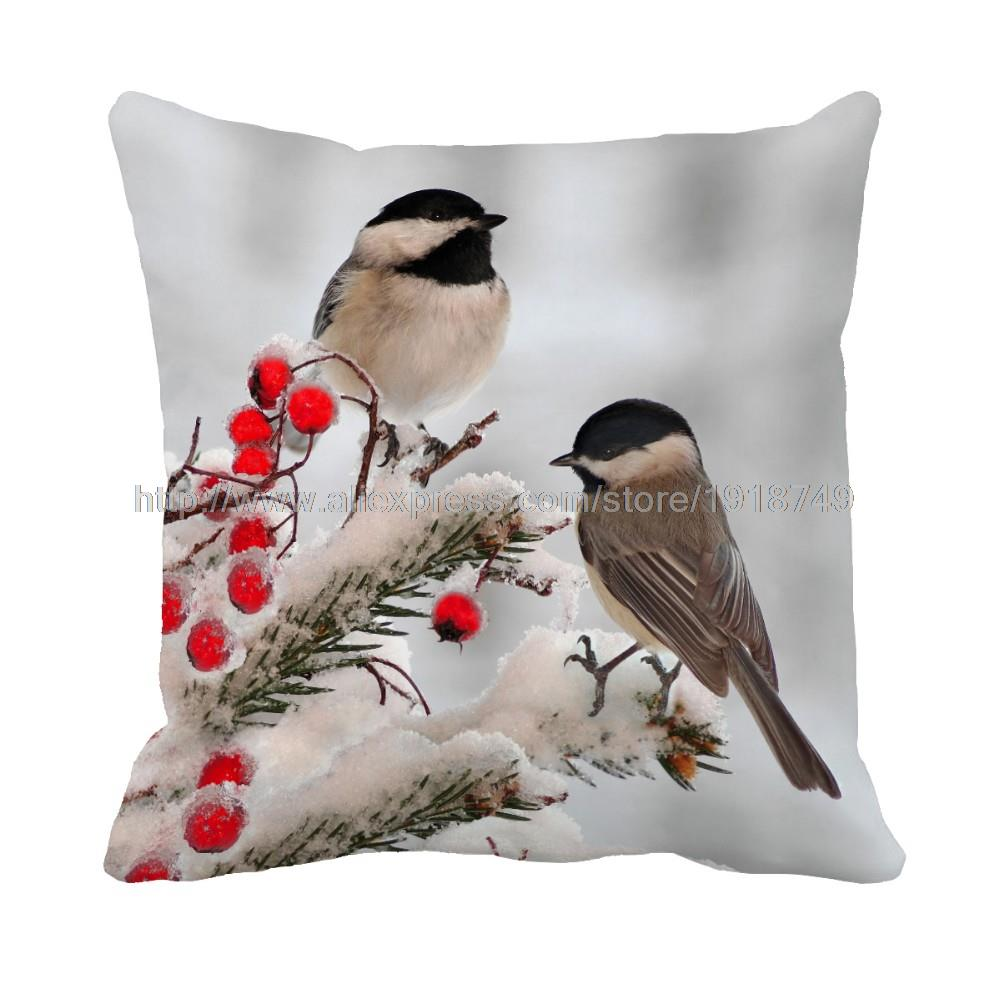 birds printed Customize decorative animal winter vintage pillow case sofa chair christmas ...