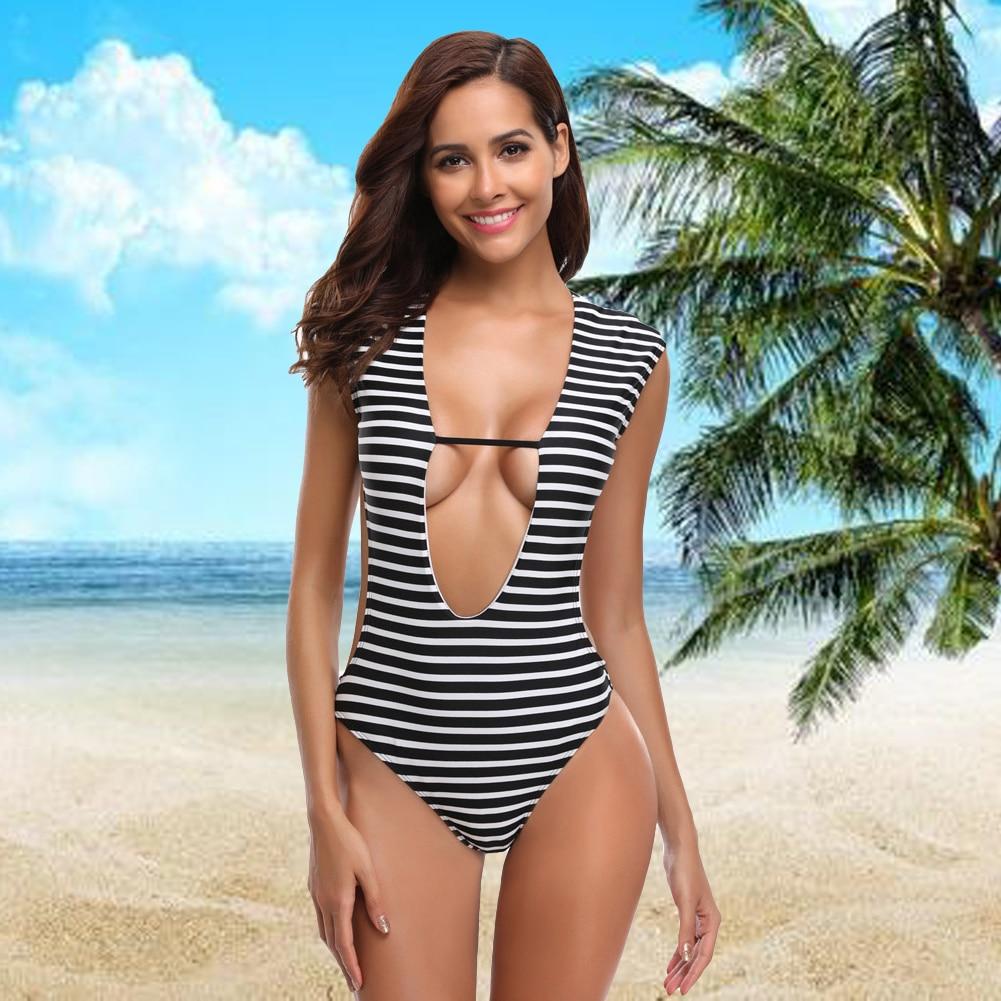fec2c775c8e Sexy Women One Piece Swimwear Swimsuit Striped Plunging V Neck Cutout Back  Monokini Swimwear Bathing Suit Black Bathing Suit-in Body Suits from Sports  ...
