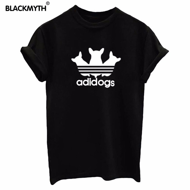 e8c667317e6c adidogs Letters Printing Women T shirt Casual Short sleeve White Black  Round collar Top Tees