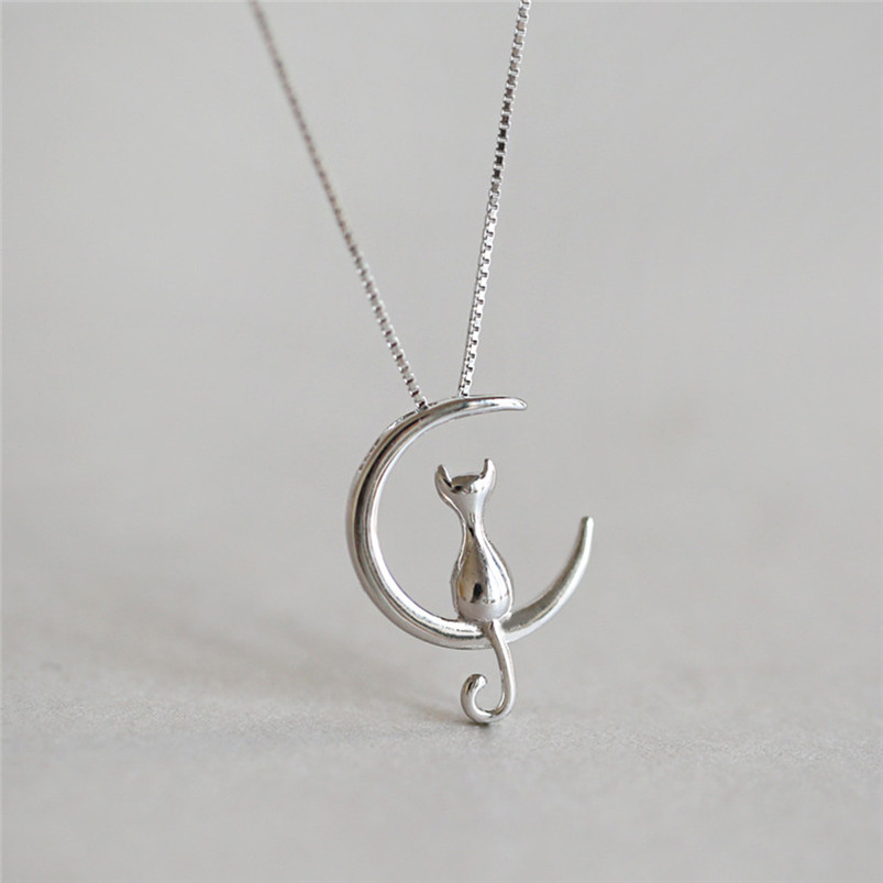 1Pc New Fashion Jewelry Silver Gold Moon Lovely Cat Necklaces Pendant Women Christmas Gifts Simple Temperament Cute Chain D10 (3)