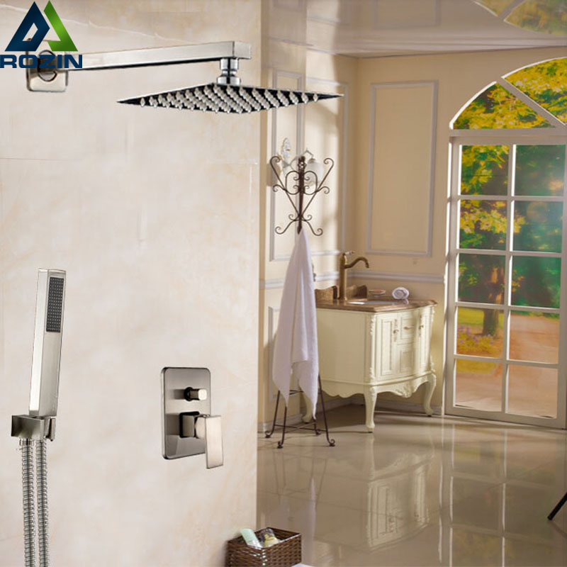 Brushed Nickel 12 Rainfall Shower Faucet Single Handle Bathroom Shower Mixers with Handshower