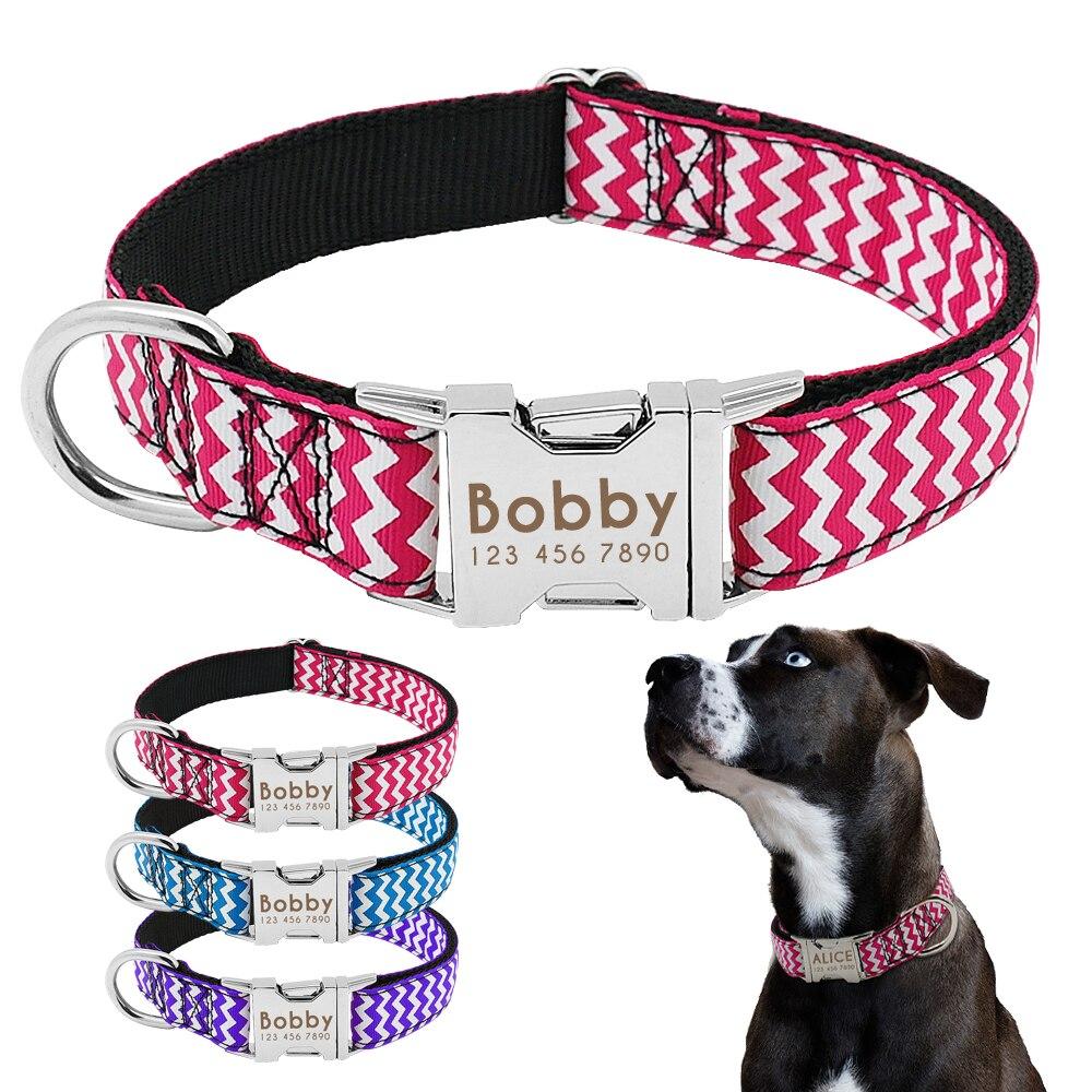 Ajustable grabado Gran Collar De Perro Placa De Plomo de perro rosa - coloreado