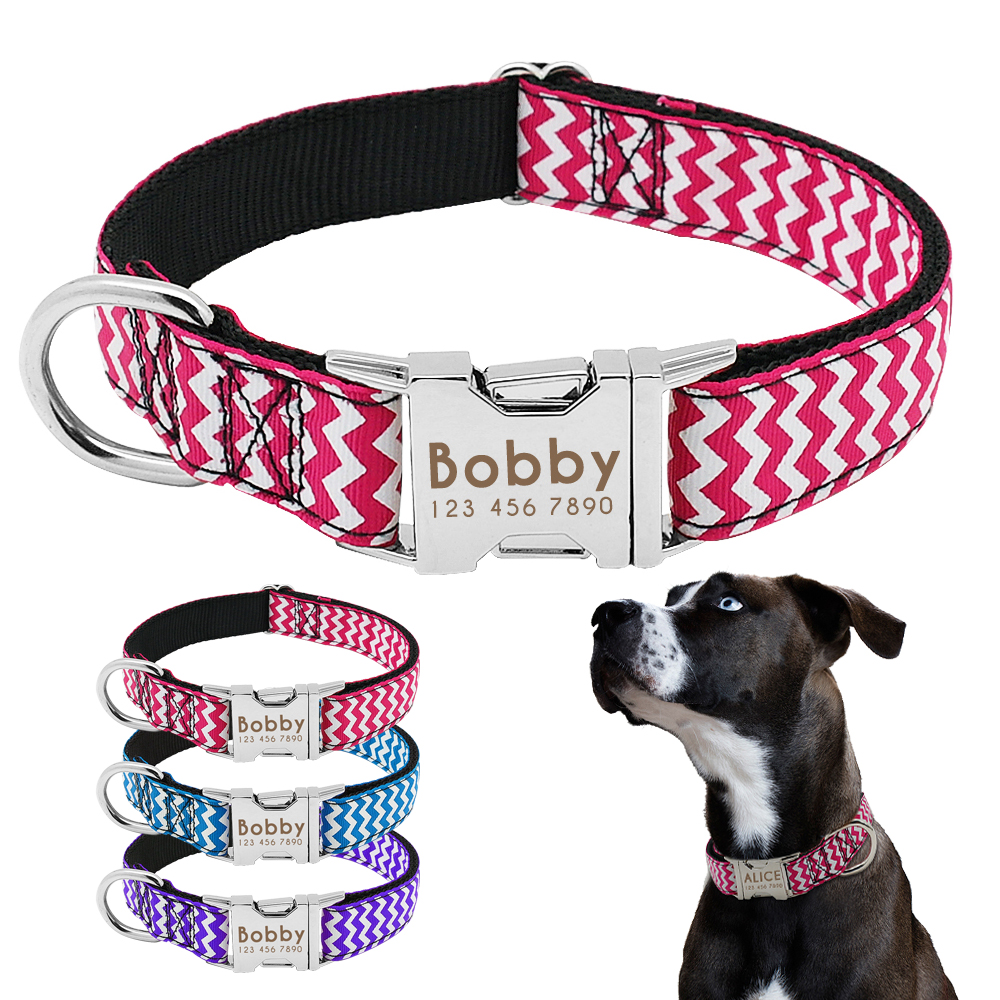 Dog Collar Nylon Engraved Customized Puppy Id Tag Collar Antilost Personalized Nameplate Collars Adjustable For Medium Large Dog