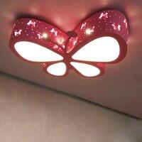 Детская комната Цвет бабочка светодиодный потолочный светильник для маленьких девочек спальня бабочка лампы Романтика потолочные светиль