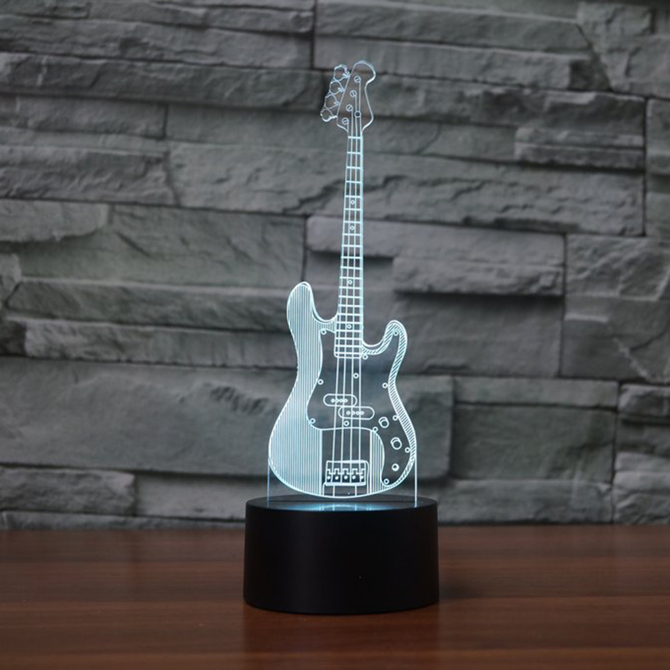 Creative Decor 3D Nightlight Bass Guitar Lighting Table Desk Lamp 7 Colors Led Musical Instruments Modeling Bedroom Sleep Gifts