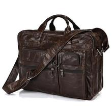Nesitu Vintage Chocolate Real Skin Genuine Leather Men Messenger Bags Cowhide Portfolio Briefcase 15.6 inch Laptop Bag #M7093