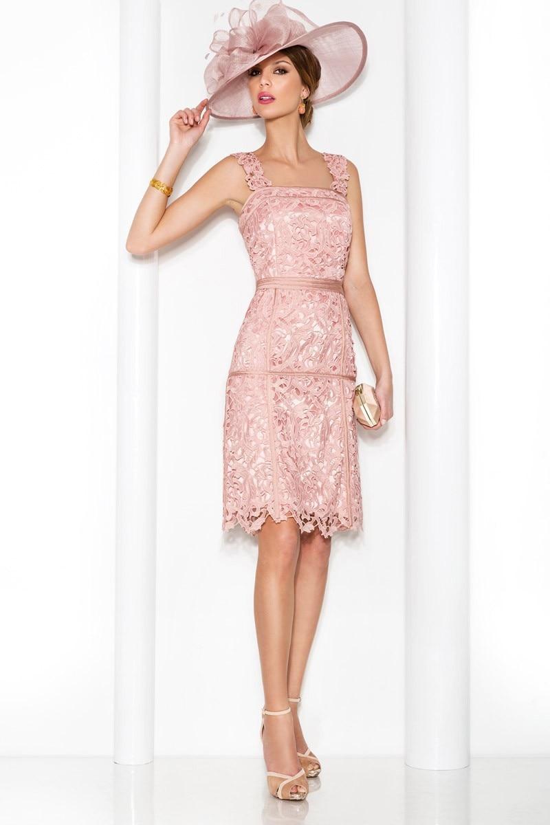 De encaje De color rosa lf2739 madre De la novia viste con manguito ...