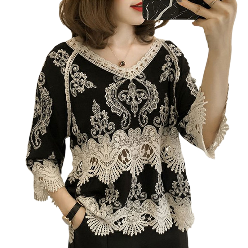 Women   Blouses   2019 Summer Fashion Patchwork Vintage Hollow Out Casual Lace   Blouse     Shirts   Female Elegant Embroidery   Blouse   Tops