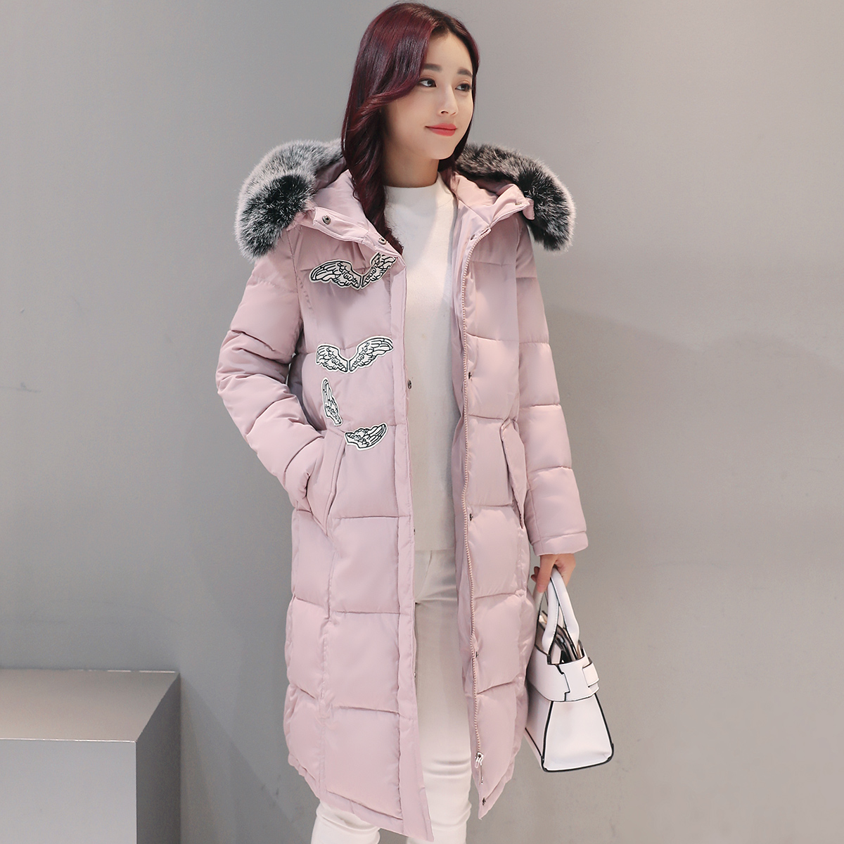 M 2XL 2016 New Women s Winter Coat Solid Medium Long Jacket With Fur Hooded Cotton