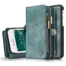 Магнитный ретро кожаный флип молнии бумажник чехол для Apple iPhone 6 6 плюс Чехол Многофункциональный телефон сумка кошелек Дело Аксессуары