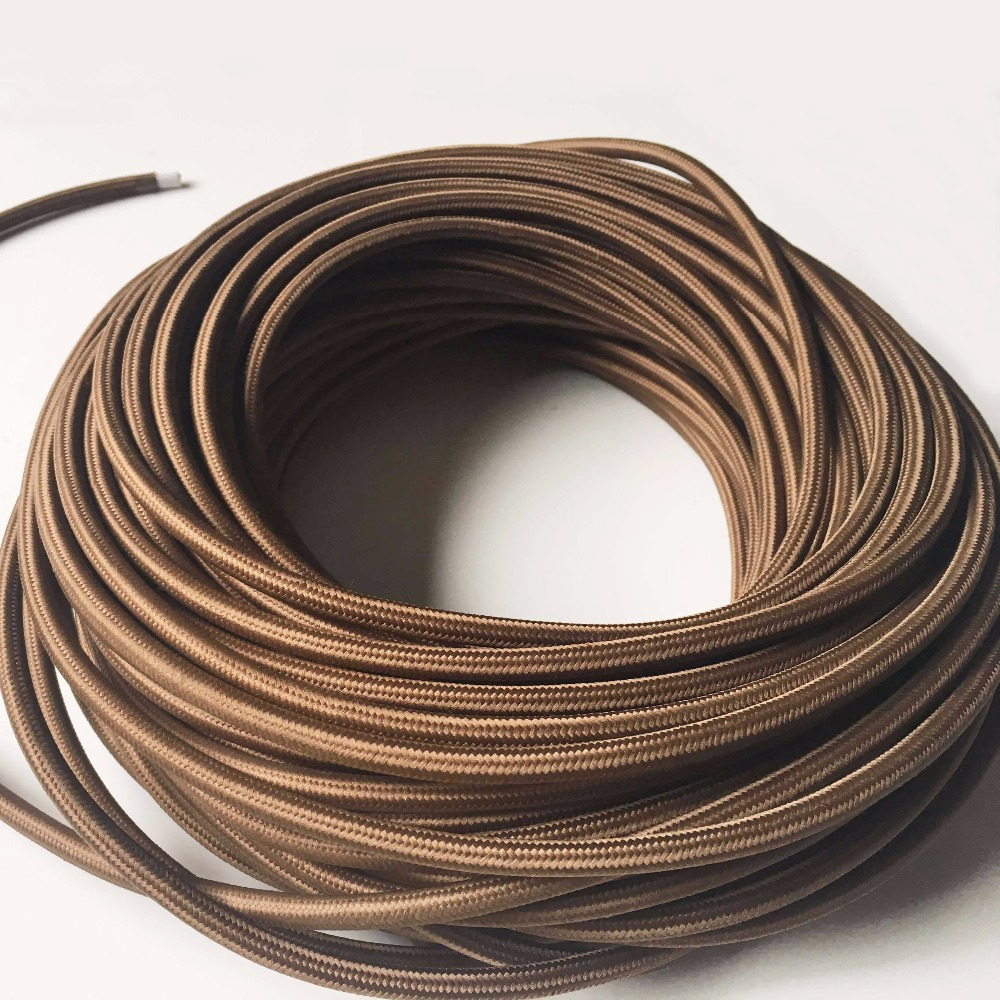 1/3/<font><b>5</b></font>/10M Vintage Edison Lamp Cord 3 <font><b>Core</b></font> 0.75mm Round Fabric Braided Electrical Cable Pendant Light Lamp <font><b>Wire</b></font> Power Cord image