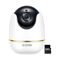 ZOSI IP Dome Camera 2MP 1080p HD Pan/Tilt/Zoom Wireless Wifi Security Surveillance System,Two Way Audio,Baby/Nanny/Pet Monitor
