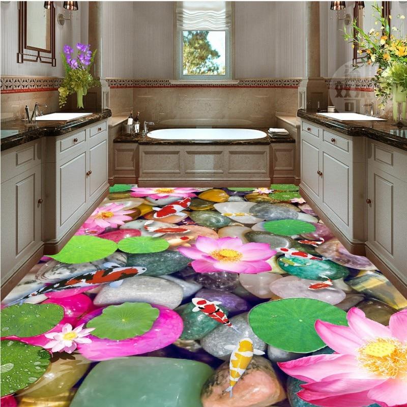 ФОТО Free shipping custom self-adhesive home decoration floor living room 3d Carp pebble bathroom floor bedroom wallpaper mural