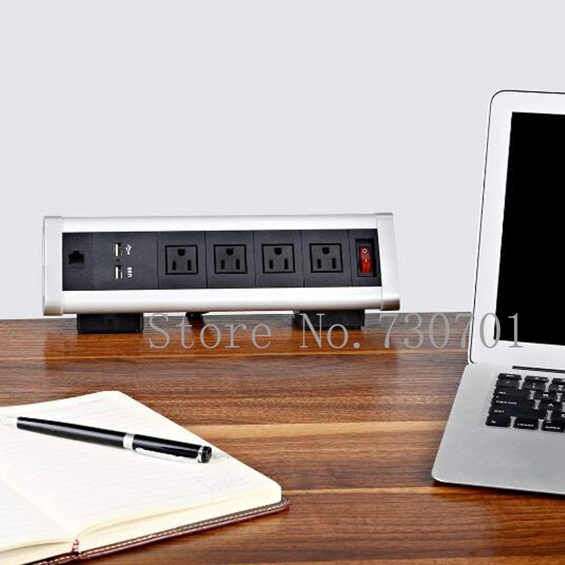 Prise de bureau Triangle amovible avec 4 prises de courant US 1 Port RJ45 2 chargeur USB pour pince de bureau sur prise horizontale de bord de bureau