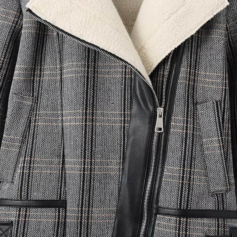 Coréenne Zipper Chaud Laine De Plaid Femmes Épais Vintage Manteau Court Veste 2018 Outwear Agneau D'hiver v78qxRww
