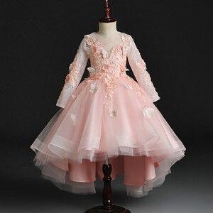 Image 5 - Fleur fille perle décoration longue robe 2020 nouvelle fille mariage fête échange robe balle beauté Sexy épaule robe