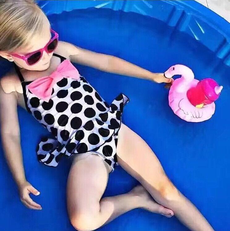 1-7 Kinder Baby Mädchen Bademode One Piece Nette Bogen Dot Bademode Tankini Badeanzug Bademode Badeanzug Baby Kind Mädchen Badeanzug D135