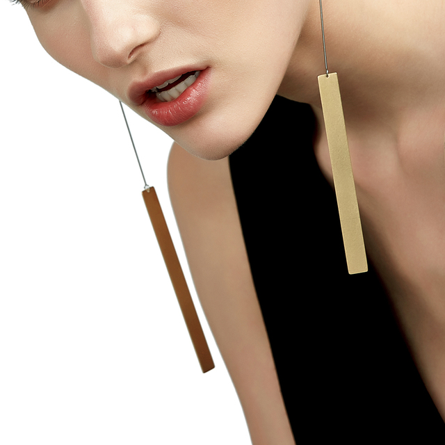 Enfashion Whole Vintage Long Bar Earrings Drop Earring Matte Gold Color Earings Stainless Steel For