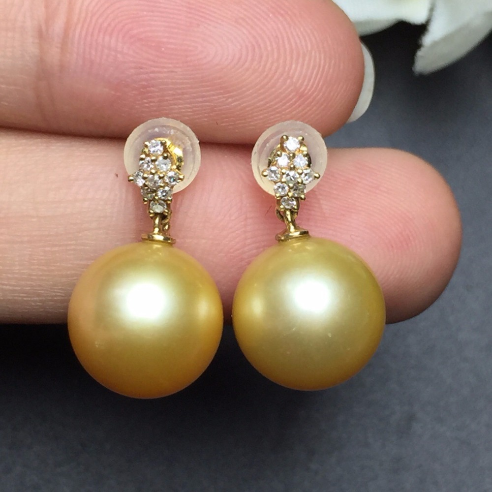 Fine Jewelry Real 18k Rose Gold AU750 100% Nature Golden Pearl Gemstone Female Earrings Fine Gift women earring
